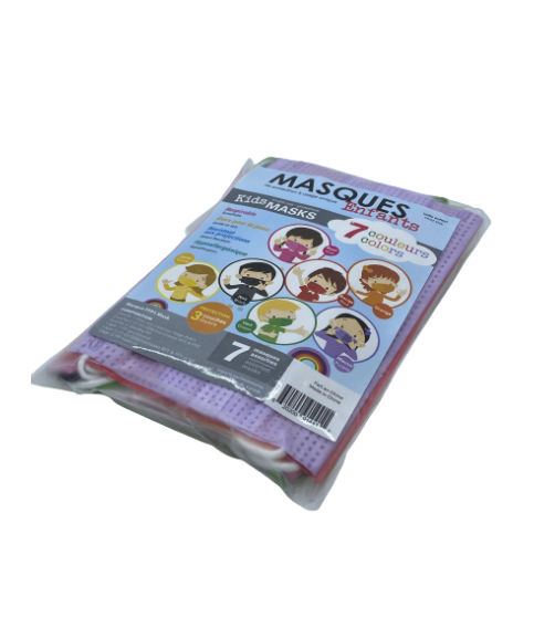 Disposable colored face cover for kids - 7/pack